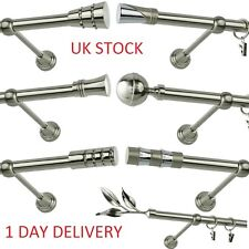 Metal Single Curtain pole/rod set Silver ⌀19mm FAST & FREE delivery !