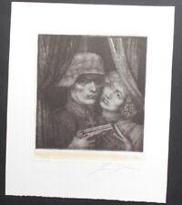 Ernst Fuchs, der Soldat und sein Engel , Farb-Radierung , num. +  handsigniert
