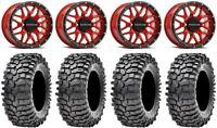 """Raceline Krank 14"""" Wheels Red +38mm 30"""" Roxxzilla 396 Tires Kaw Mule Pro FXT"""