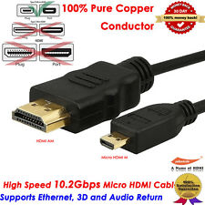 2M 6FT Micro HDMI Male to HDMI Male 1.4v 24k Gold Short Cable Adapter for Laptop