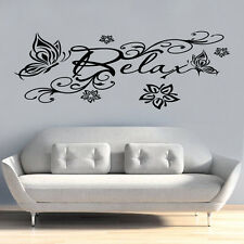 Relax Butterfly Flowers Quote Wall vinyl Stickers Art Room Removable Decals DIY