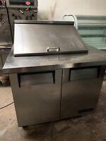"36"" True TSSU-36-12M-B Sandwich Unit Refrigerated Prep Table Refrigerator Cooler"