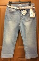 Lee Rider Blue Jeans Midrise Capris With Silver Belt Misses Size 6 NWT
