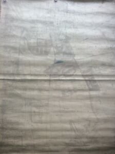 Huge Antique 1920s YORK Cloth Wall Map Heworth Walmgate Heslington Layerthorpe