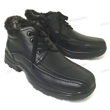 Men's Winter Ankle Boots Leather Warm Fur Lined Lace Up Side Zipper, Sizes:6-13