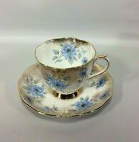 Royal Albert Tea Cup Saucer Blue Flowers Heavy Gold Gilt Edging Bone China