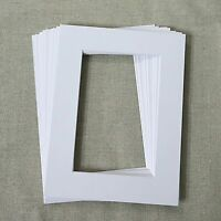 White Bevel Cut Large Photo Picture Frames Mounts Pack of 10 Size:6x8 inch