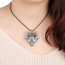 Luck Silver Necklace Leather Rope Wolf Head Pendant Norse Vikings