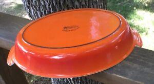 "Vintage DESCOWARE Flame Orange Enameled Cast Iron Au Gratin Dish 11.5"" Belgium"
