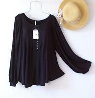 New~$88~Free People~Black Peasant Blouse Shirt Bohemian Boho Top~Size Medium L M