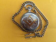 Steampunk Masonic Freemasons Fob Quartz Pocket Watch. Silver Tones