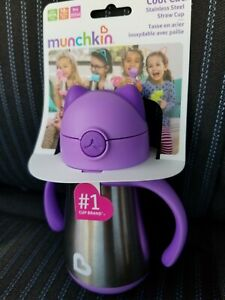 Munchkin Cool Cat Stainless Steel Straw Cup, 8 Ounce, Purple 18 months+ New