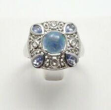 Sterling Silver Opal Triplet w/ Tanzanite & White Topaz Accents Ring size 10