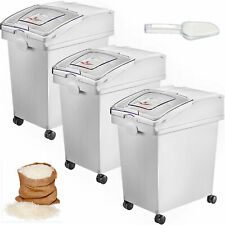 More details for 3 x 25l ingredient storage bin rice flour bin on wheels 5.5 gallons with scoop