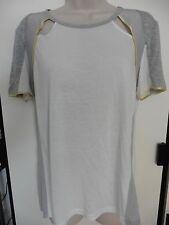 Aiko Optic/H. Grey/ Mist Silk Short Sleeve Top Size Medium $205 NWT