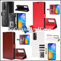 Etui housse coque Crazy Horse Cuir PU Leather Wallet Case Huawei P Smart 2021