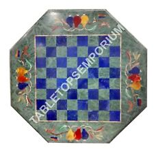 """18"""" Green Marble Coffee Chess Table Top Marquetry Inlay Living Room Decor E674"""
