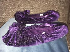 ISOTONER purple Velvet Slippers, UK size 3-4(Euro 36-37)