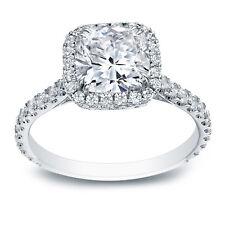 2.20 CARAT CUSHION CUT LAB DIAMOND WEDDING ENGAGEMENT RING WHITE GOLD FINISH
