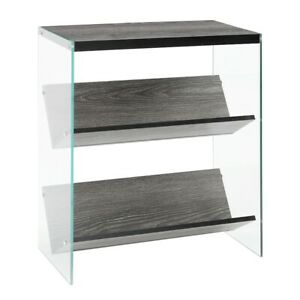 Convenience Concepts SoHo Bookcase, Weathered Gray/Glass - 131559WGY