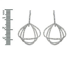 Pave Clear Triple Charms Open Tear Drop Cubic Zirconia Rhodium Hoop Earrings