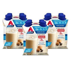 Atkins Gluten Free Protein-Rich Shake, Cafe Caramel, Keto Friendly, 12 Count