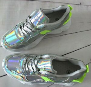 WOMENS HOLOGRAPHIC SILVER CHUNKY TRAINERS PLATFORM FASHION SNEAKERS SHOES SIZES