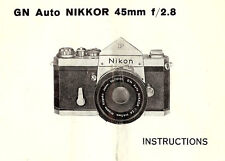 NIKKOR GN AUTO f/2.8 45mm LENS INSTRUCTION MANUAL for NIKON F SLR 35mm CAMERAS