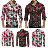 Slim Men Luxury Long Sleeve Tops Tee Fit Casual Rose Flower Printed Shirts Hot