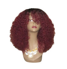 Burgundy Red 100% Indian Remy Human Hair Cherry Spice Wig Kinky Curly
