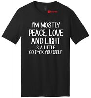 Mostly Peace Love Light Little Go F Yourself Funny Mens V-Neck T Shirt Yoga Tee