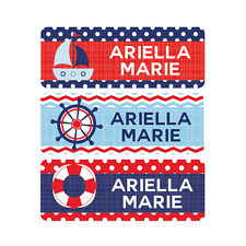 Waterproof Name Labels, Baby Bottle, Daycare, School Nautical Red Blue Boy Girl