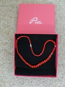 Very pretty Pia Red  single strand necklace with box brand new