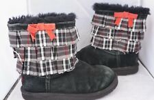 Ugg Australia Bow Frills Short Boots Youth Girls Size 4 Leather Sheepskin