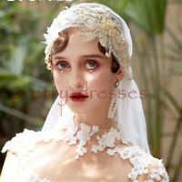 Long Vintage Juliet Cap Wedding Bridal Veils Cathedral Champagn Appliques Beaded