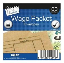 80 x Wage Packet Envelopes Brown Self Seal Adhesive by Tallon