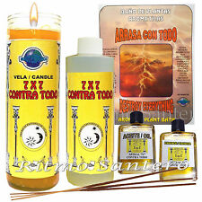 ASTRAL 7x7 CONTRA TODO Set Fixed 7 Day Candle, Spiritual Oil- Essence, Bath Wash