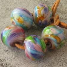 DFJ Lampwork 5 USA Handmade Glass Spacer Beads~Butterfly Garden~Purple Blue  sra