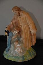 """CHALKWARE RELIGIOUS VINTAGE MARY JOSEPH JESUS FIGURINE DISTRESSED PATINA 8"""" H"""