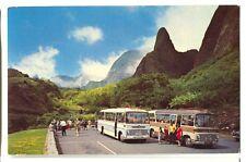 Vintage Chrome Bus Maui's Iao Needle Hawaii Postcard