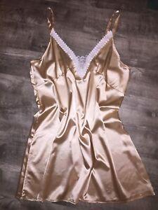 """4X Shiny Slippery Liquid Satin Full Slip 48-56"""" Bust Glossy Lingerie Gown Vtg St"""