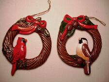 Vintage Handmade Ceramic Wild Backyard Bird Wreath Christmas Ornaments Cardinal