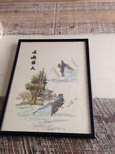 Vintage Oriental /hand embroidered Framed Picture / Japanese Pagoda / embroidery