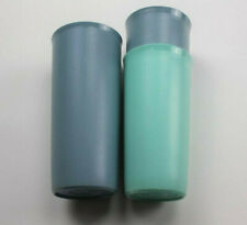 "Tupperware Tumblers 3 Blue Green Vintage Cups 5"" 5 3/4"" 116-36 115-11 Size E F"