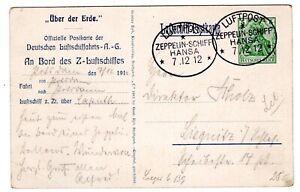 1912 Zeppelin Flight on Postcard