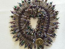 Lavender and Purple Beaded Fringe Bracelet with Swarovski Crystal Cubes