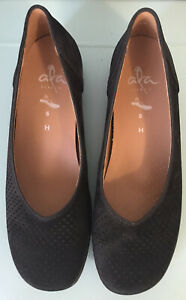 """ARA """"AVRIL"""" Black Suede Low Heel Slip On Shoes Size AU/US 8.5 Near New"""