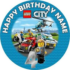"""7.5"""" Lego City Edible Personalised Cake Topper"""
