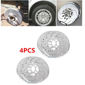 """Genuine 4 Pcs Silver Aluminum Drilled Car Disc Brake Rotor Covers For 14"""" Wheels"""