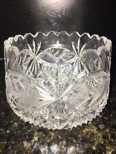 Vintage Cut Crystal Bowl Vase Elegant Unusual Shape Round Heavy Thick Deep Cuts